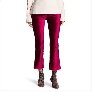 Free People Pink Velvet Crop Flare Pant
